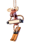 Skiing Moose with Sign