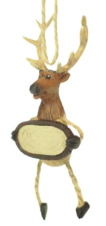 Elk with Sign Ornament